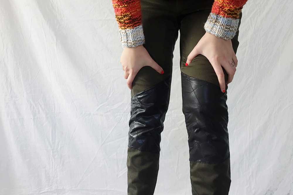 Faux Leather Knee Patch Jeans